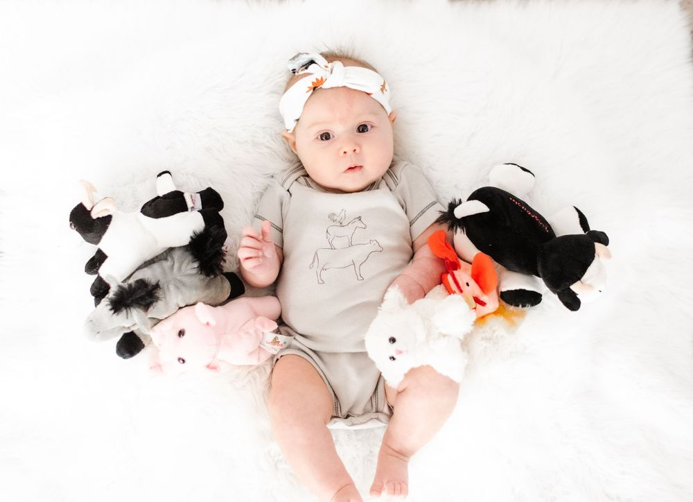 Baby girl with farm animals