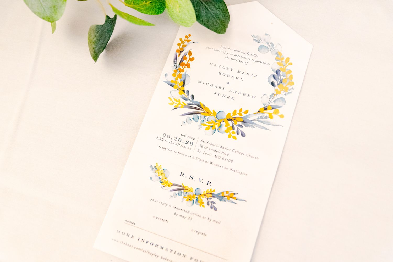 wedding invitation for bride and groom