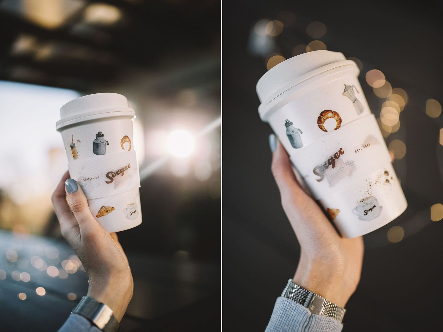 Bamboo coffee cup - Becher illustrations