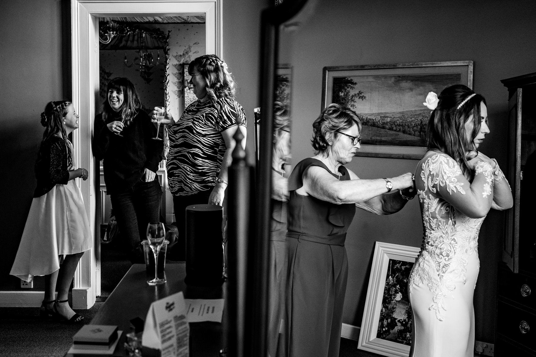 Documentary wedding photography at Askham Hall