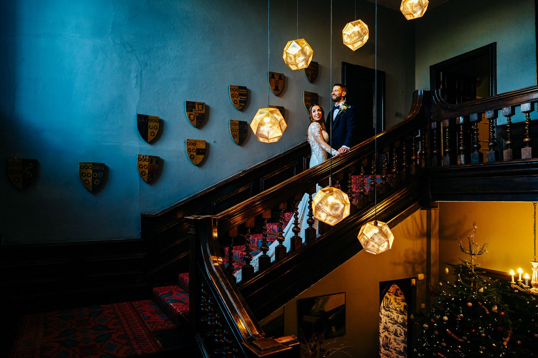 Askham Hall Wedding Photo on Staircase