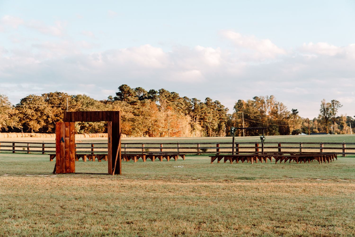 Wedding Ceremony setup at The Blessed Barn in Aynor, SC, by PHV Photo