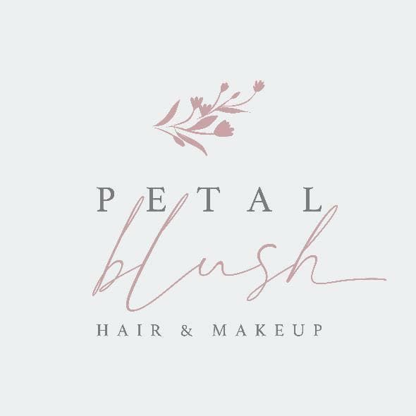 White and pink logo petal blush hair and makeup artist