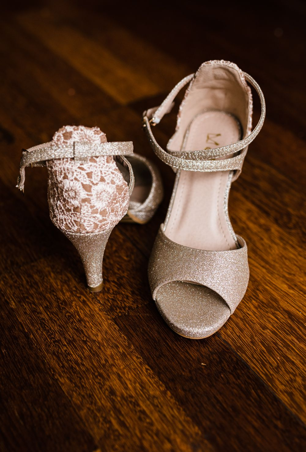 wedding shoes with lace and glitter