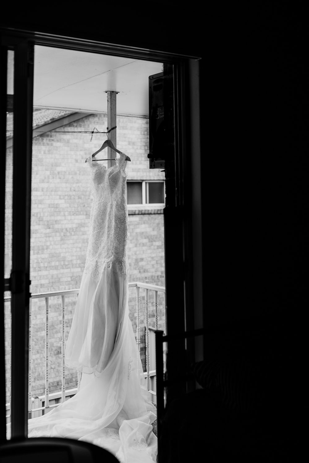 wedding dress on the hanger outside