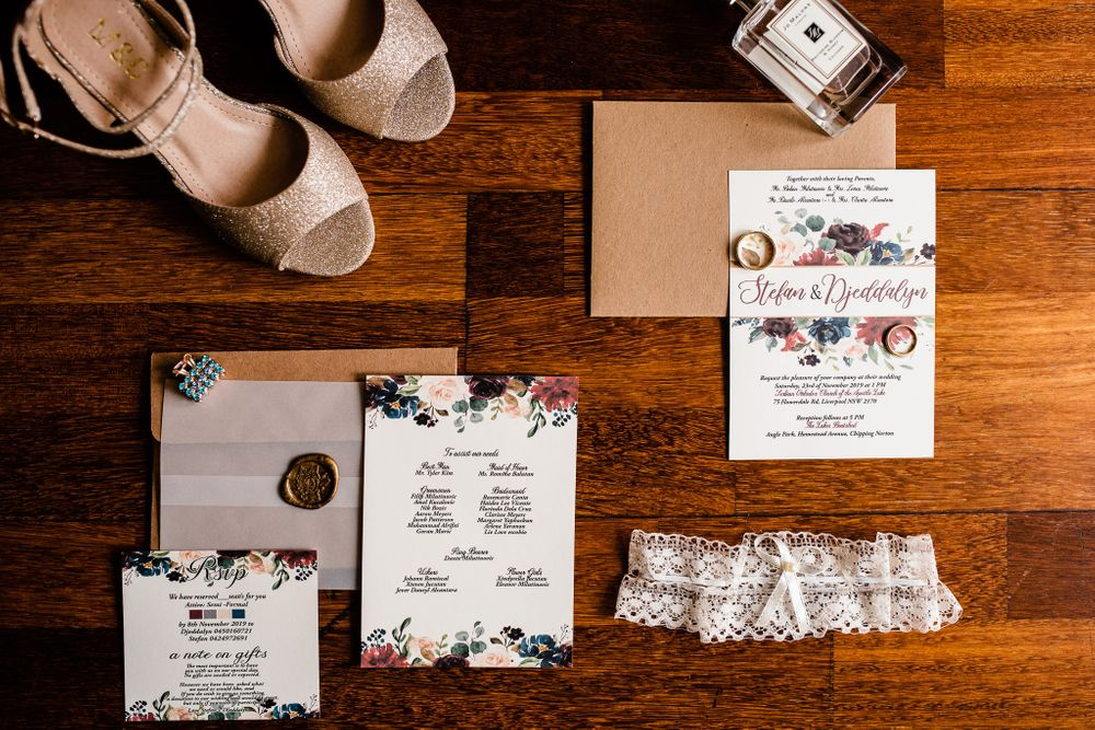 flat lay of wedding shoes and accessories