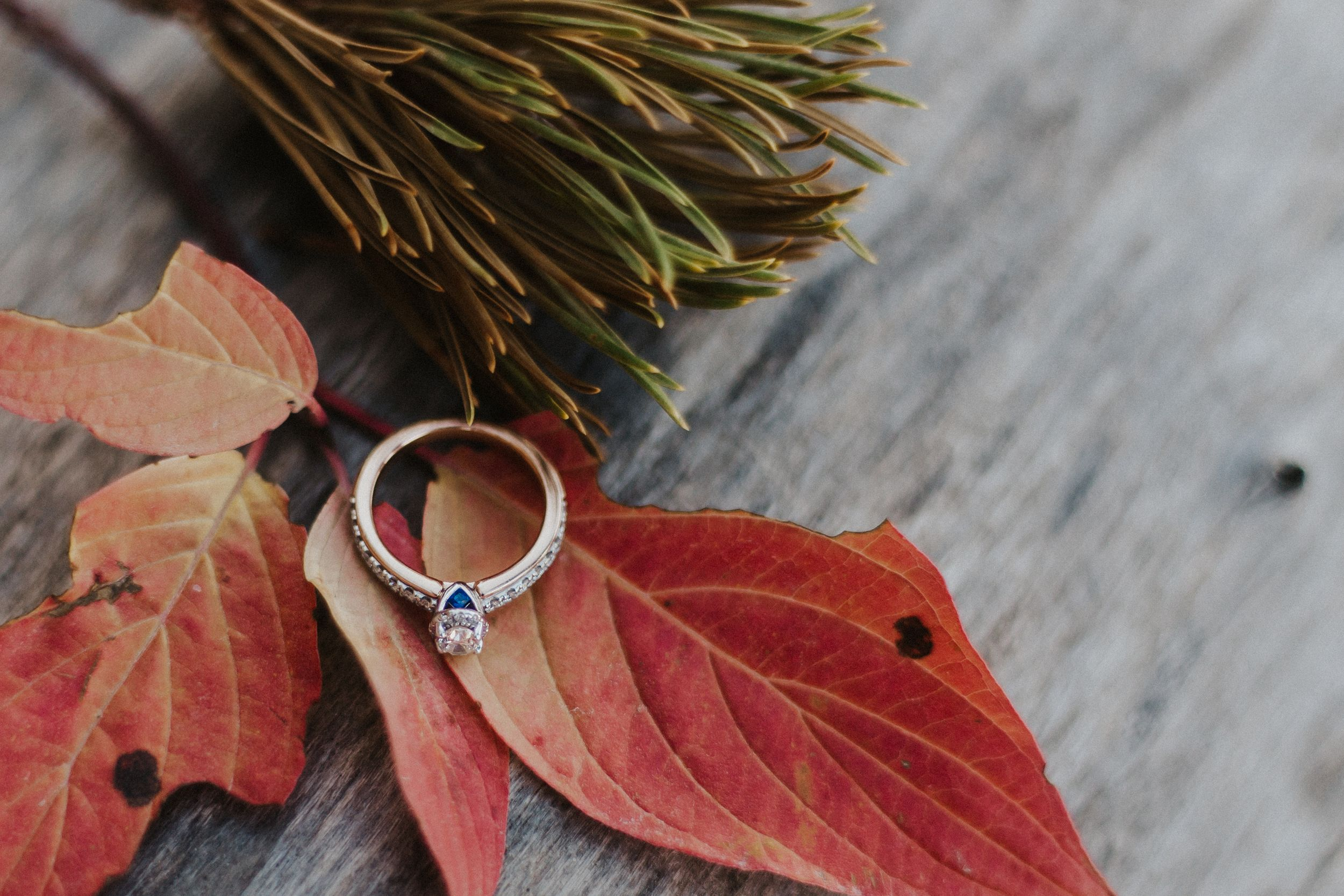 Engagement ring on top of colorful fall leaves