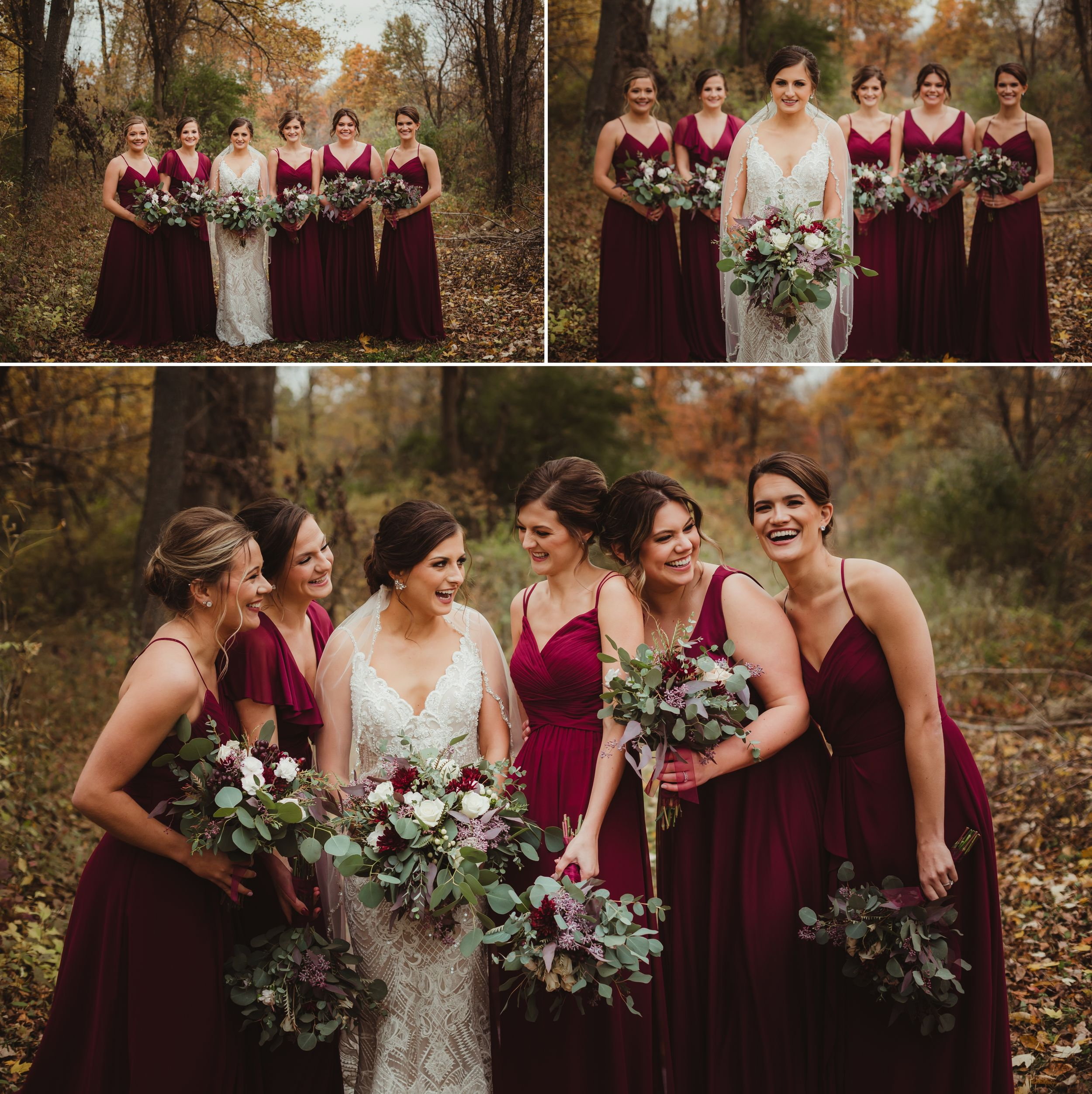 Bride in form fitting beaded dress and bridesmaids in floor length maroon dresses with bouquets of eucalyptus and roses.