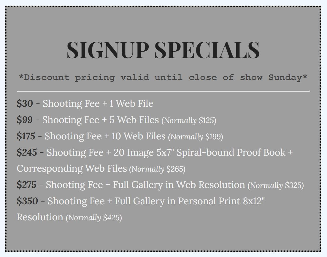 Dressage Show Photography Special Signup Pricing Sheet Meg McGuire Equine Photography, Georgia Equine Photographer