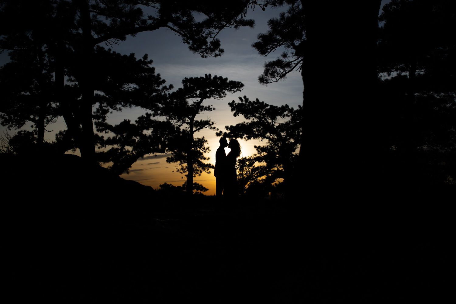 Silhouette of couple, engagement photo session at Lake Minnewaska, Hudson Valley, New York