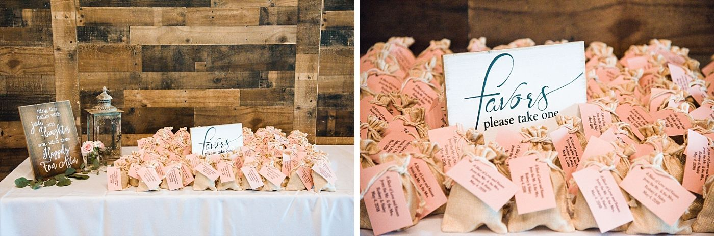 Springville Central Valley california barn wedding reception favors