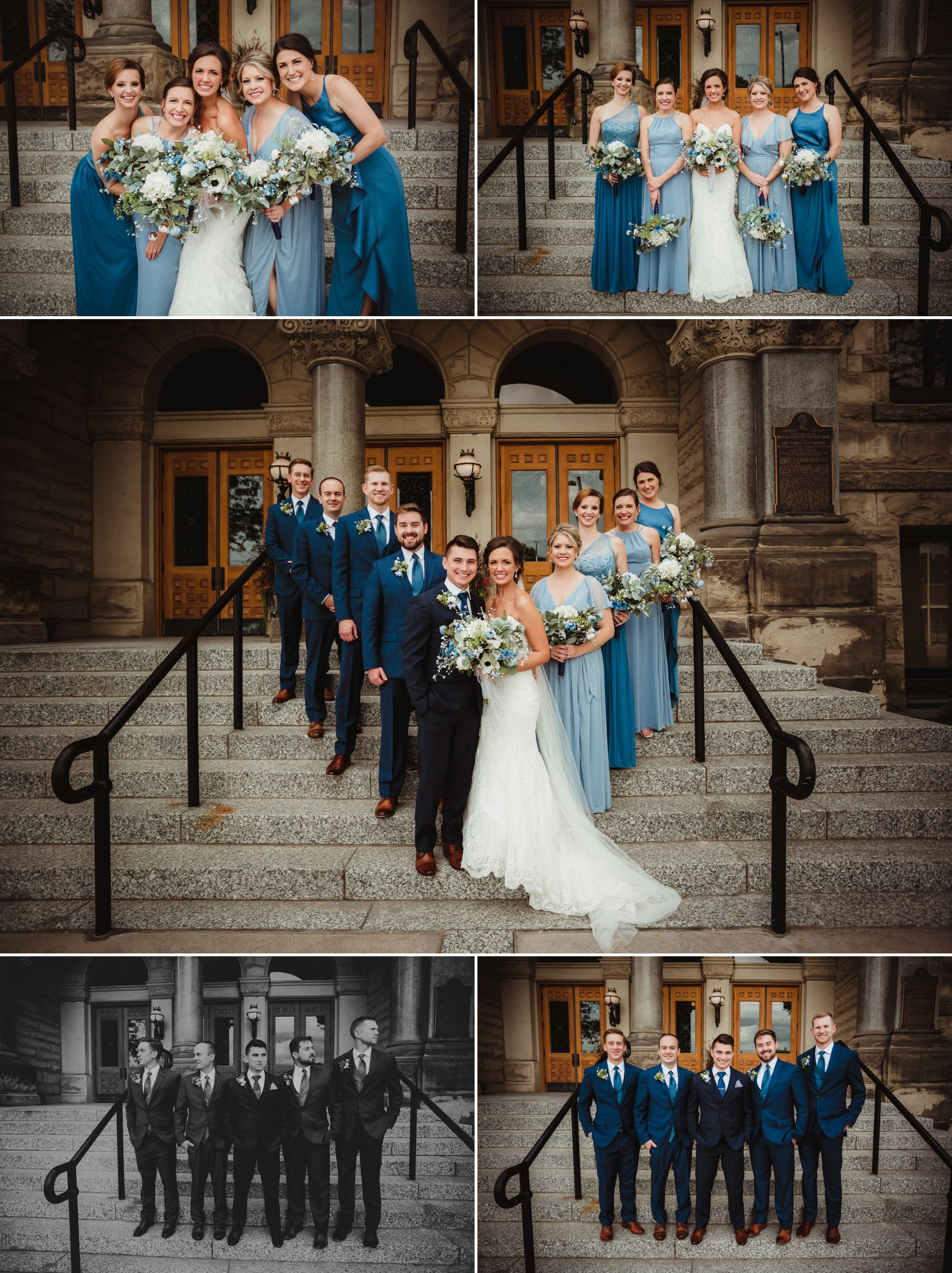The wedding party posing on stairs. They're all in shades of blue.