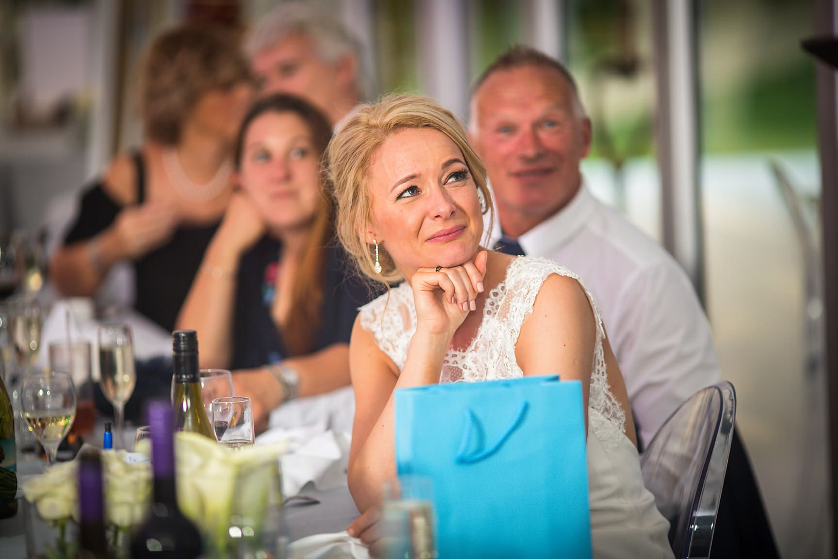 Brides get emotional during her Cheshire wedding marquee evening at speech time