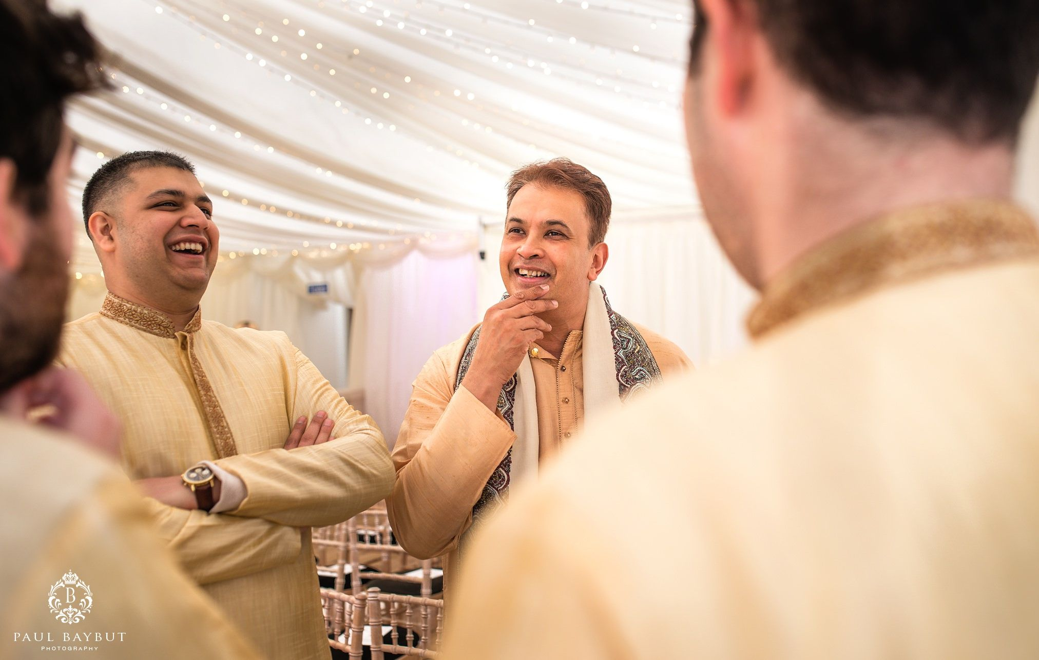 Thornton manor wedding photography of best men at asian wedding in the marquee