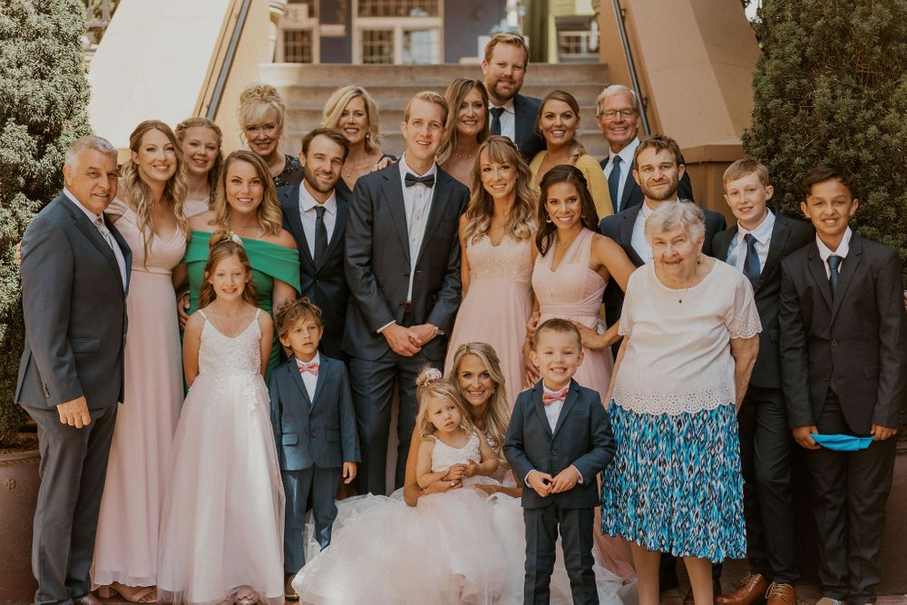Entire wedding party comprised of bride and groom's family members