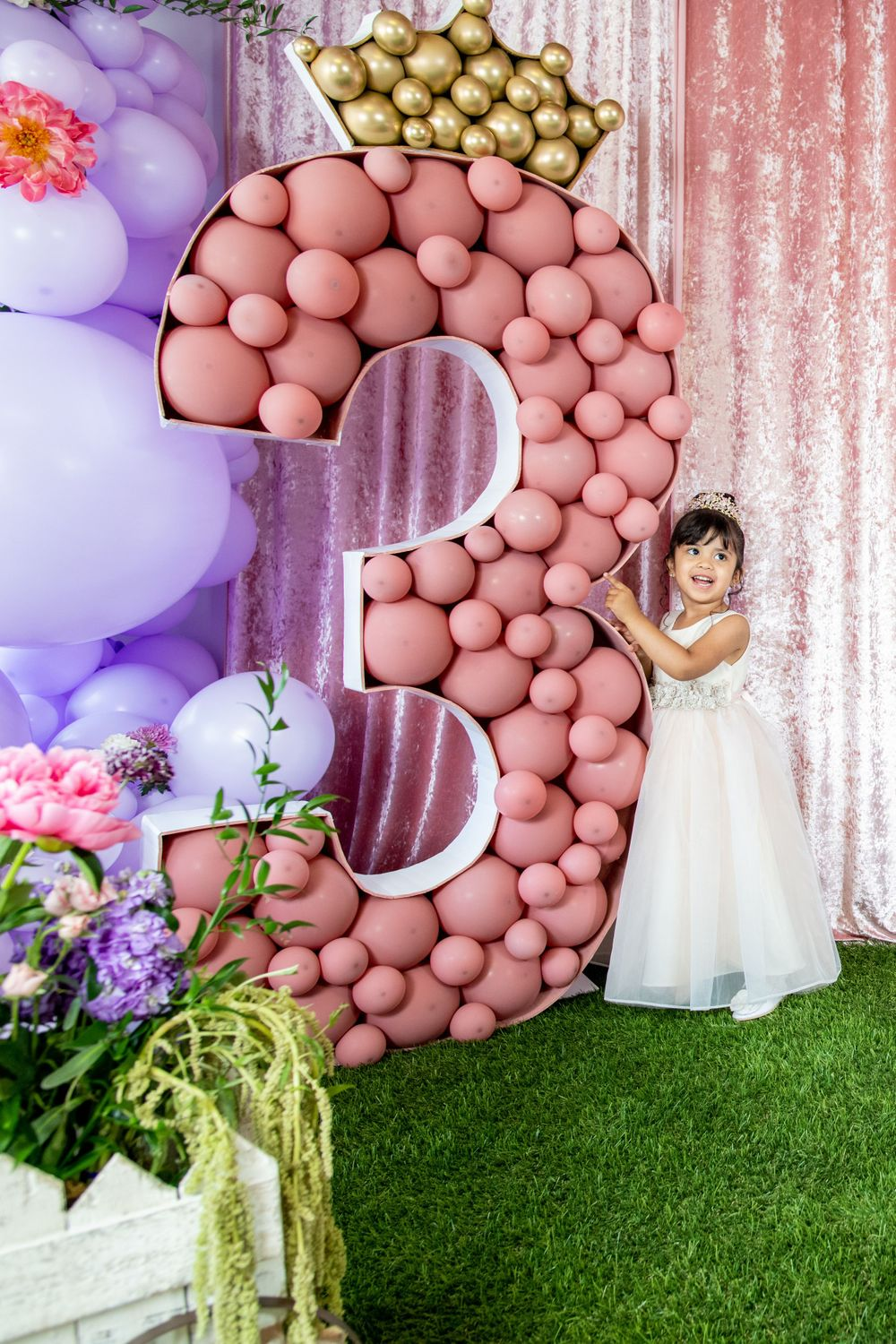 Moms Kloset Balloons - Princess Theme - Girl celebrates third birthday party