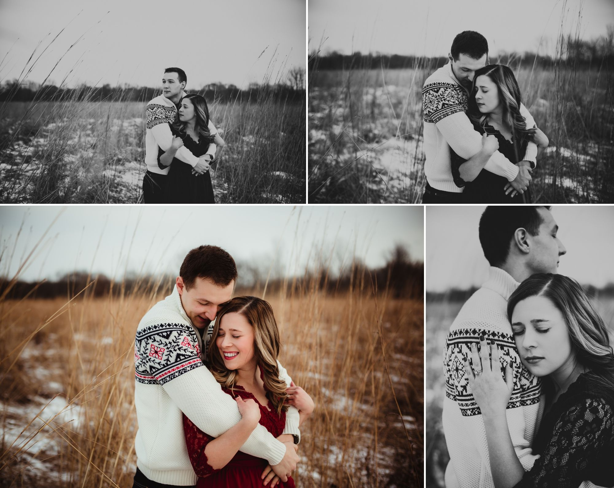 A collage of an engaged couple embracing in a field. Long brown grass pokes through the snow.