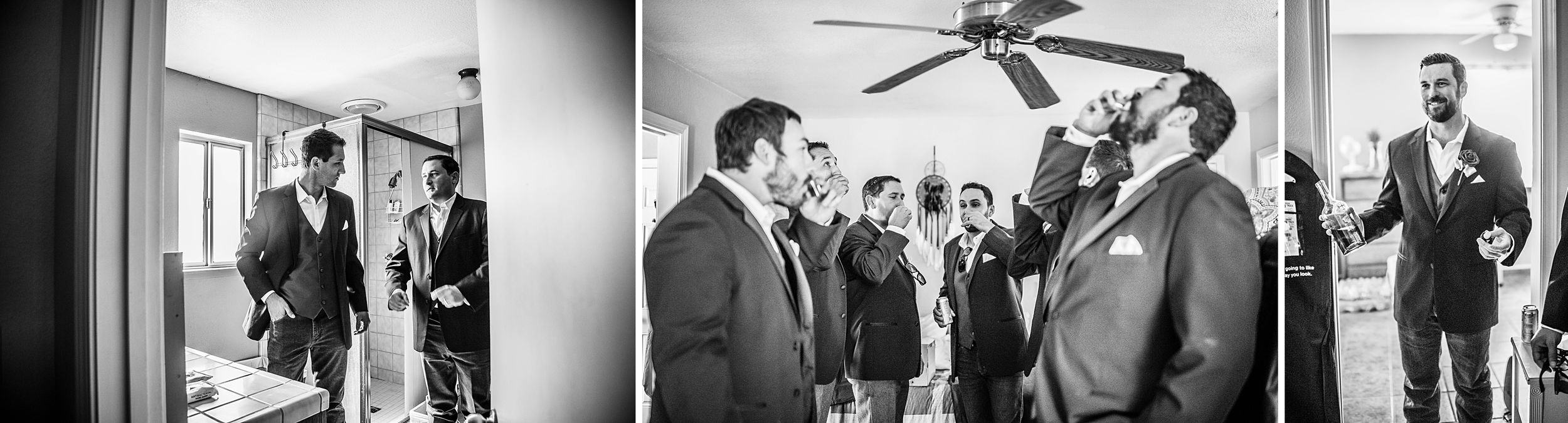 outdoor wedding in three rivers california riata ranch groom getting ready with groomsmen