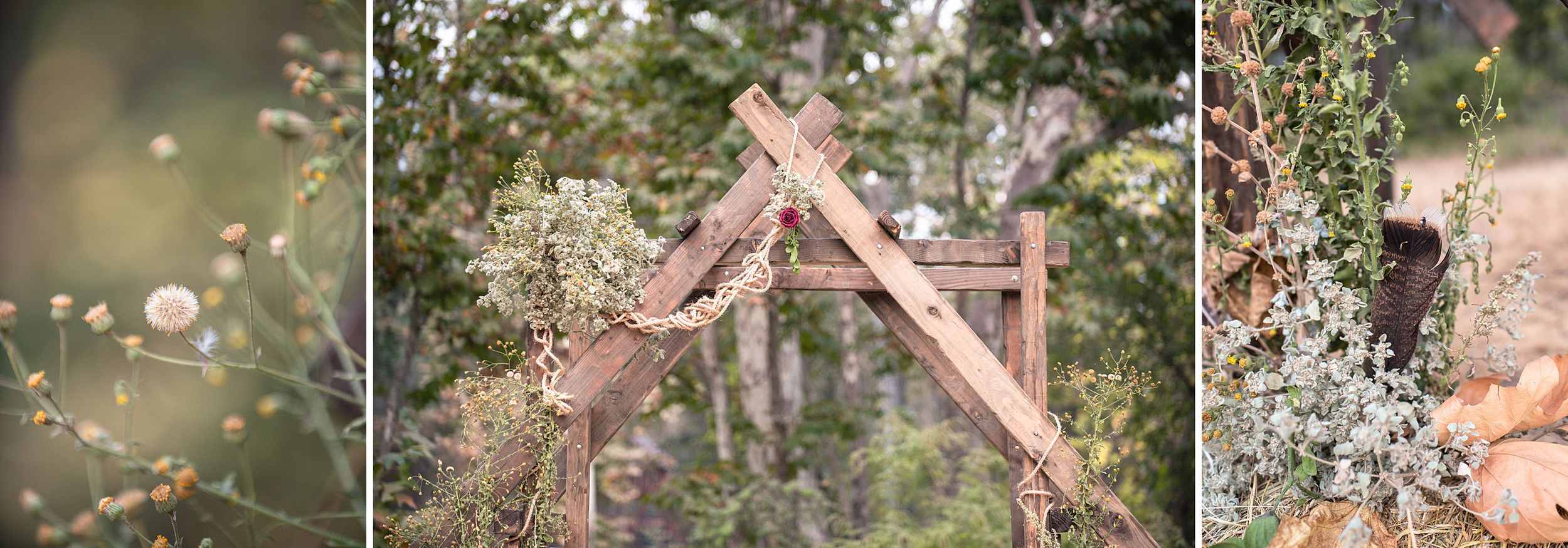 outdoor wedding in three rivers california riata ranch ceremony arch decor