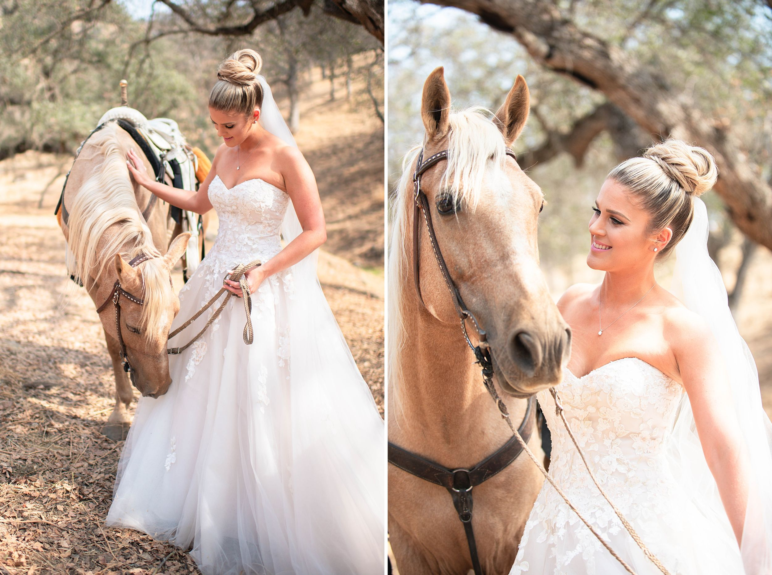 outdoor wedding in three rivers california riata ranch bride and horse