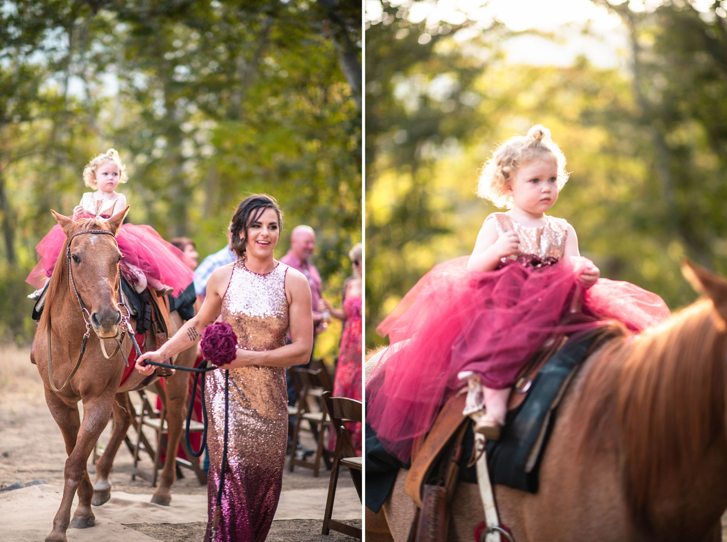 outdoor wedding in three rivers california riata ranch ceremony flower girl on horse