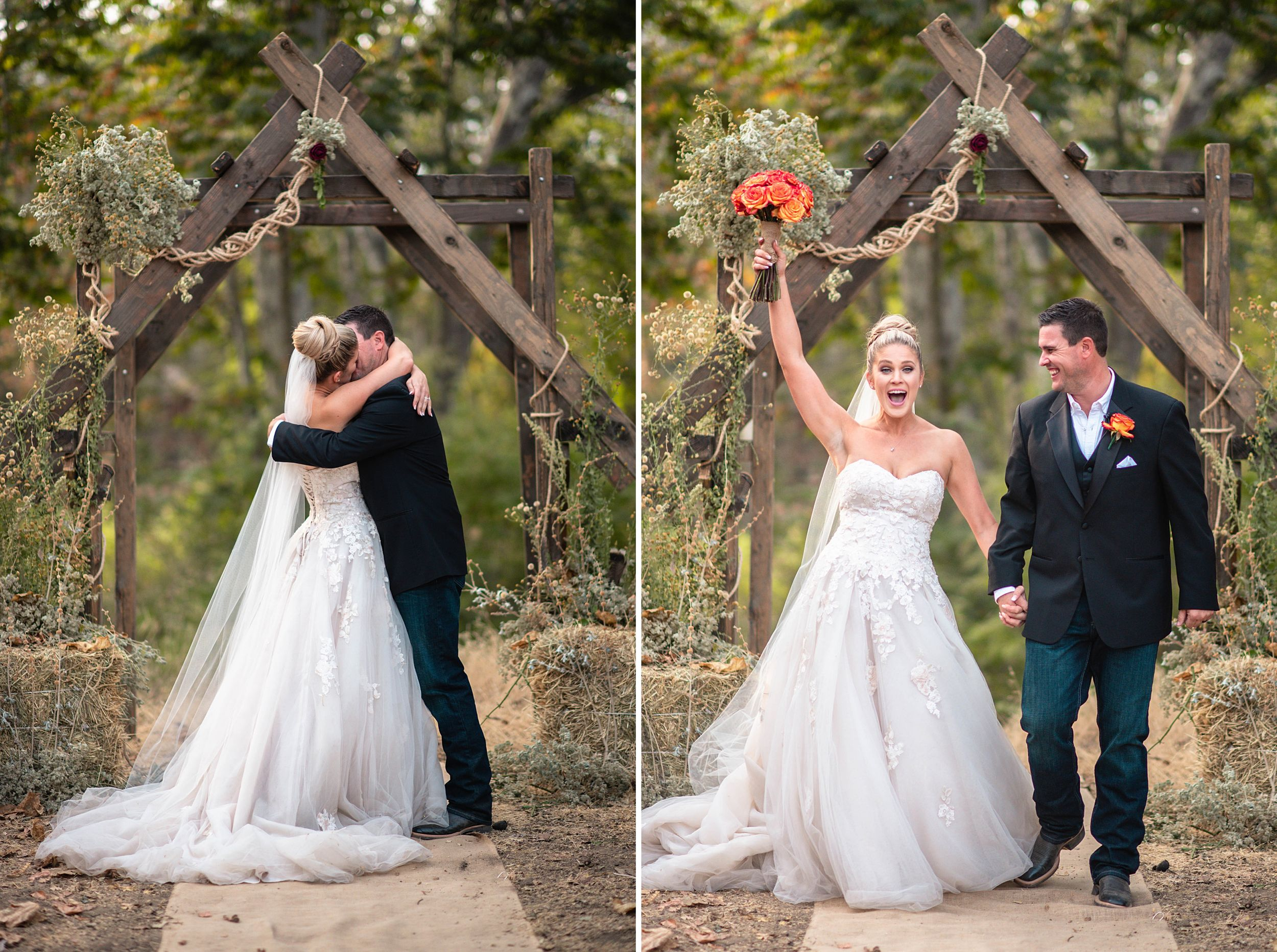 outdoor wedding in three rivers california riata ranch bride and groom ceremony kiss