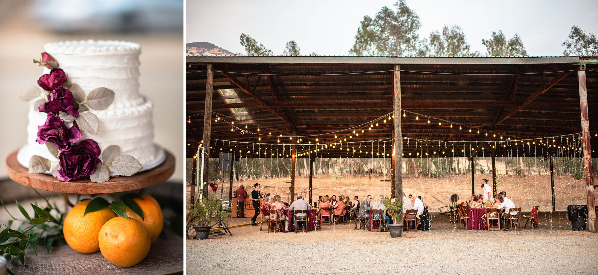 outdoor wedding in three rivers california riata ranch reception cake