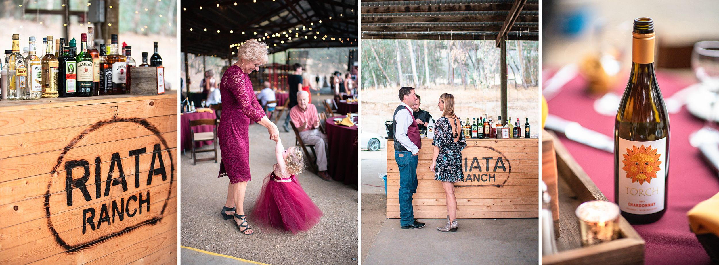outdoor wedding in three rivers california riata ranch reception bar dancing