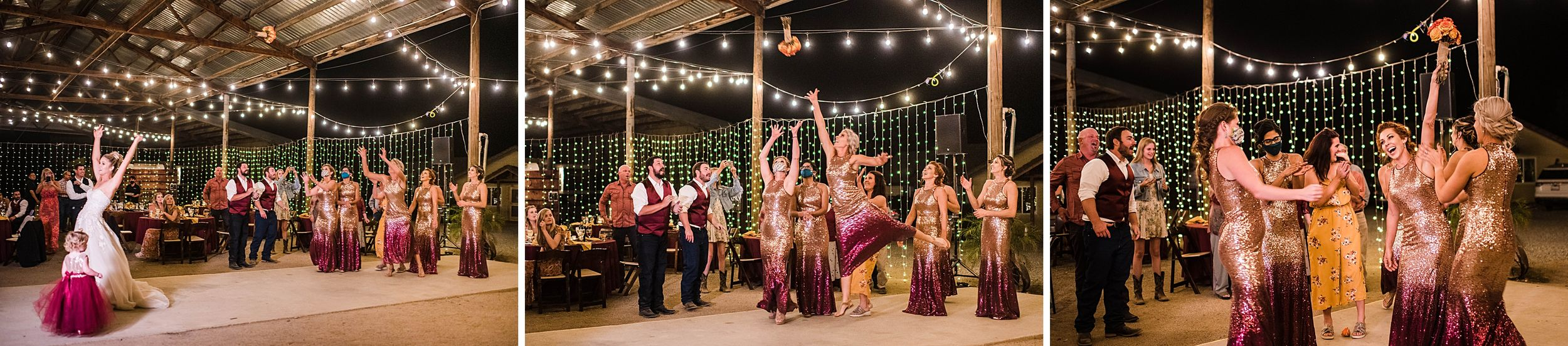 outdoor wedding in three rivers california riata ranch reception bouquet toss