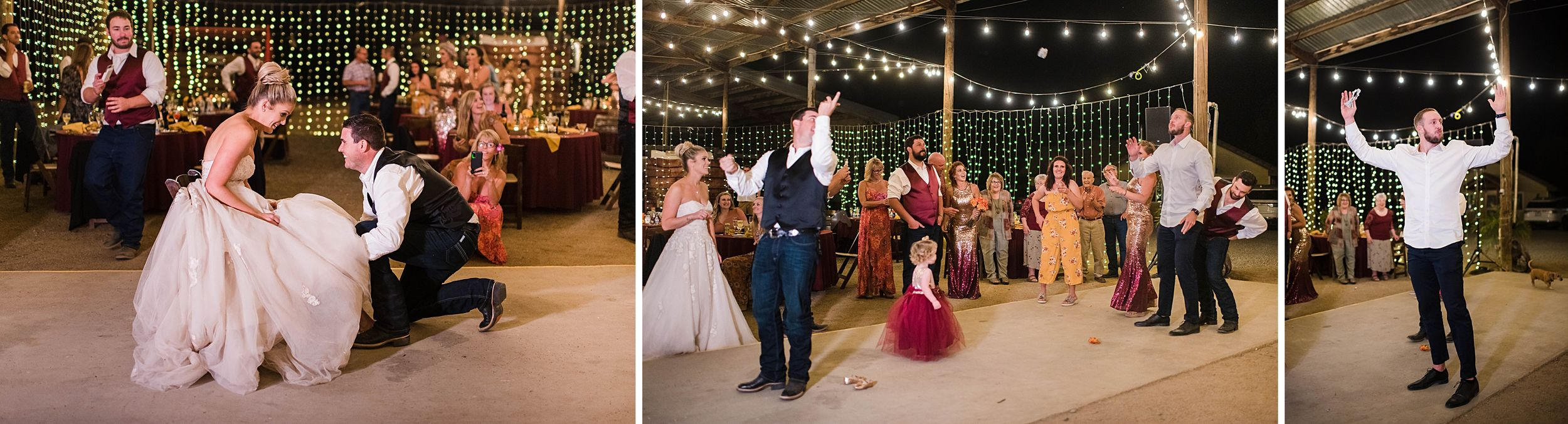 outdoor wedding in three rivers california riata ranch reception garter toss
