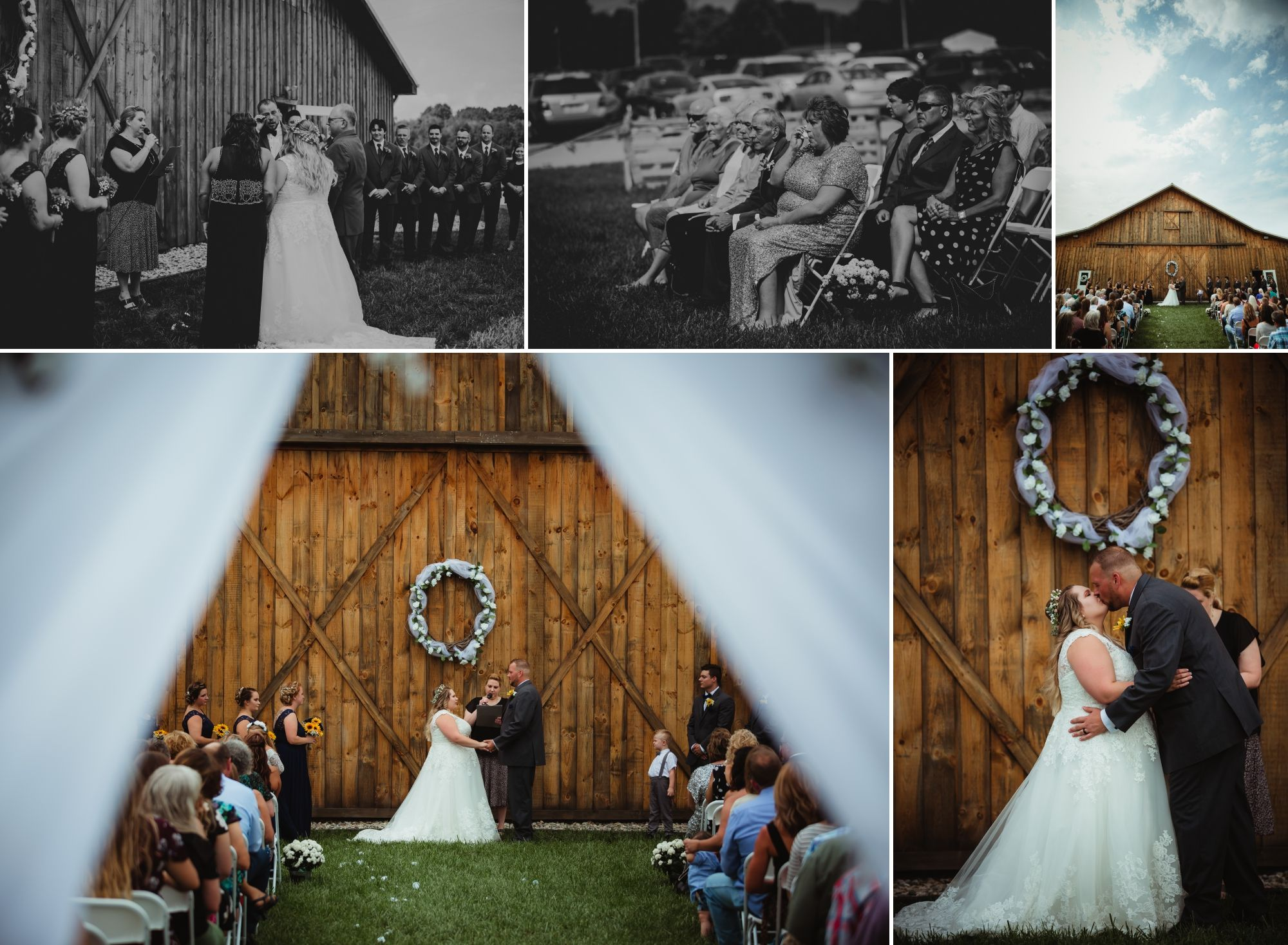 Collage of the bride and groom's outdoor ceremony in front of the barn.