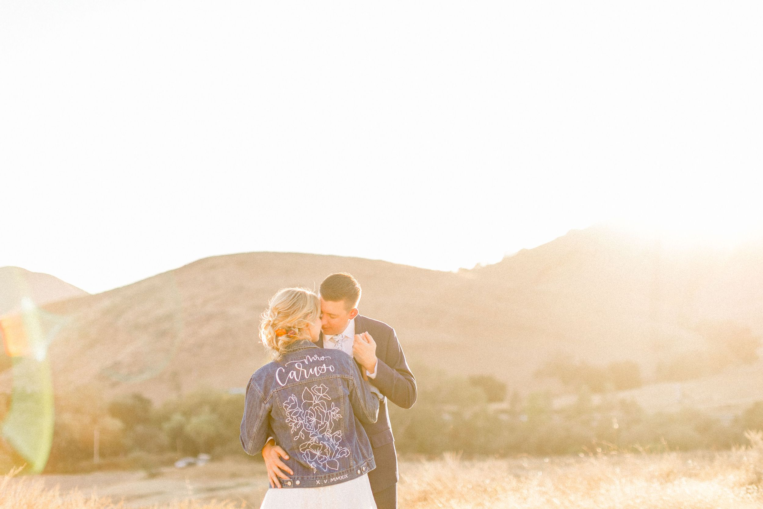 Bride and groom at sunset at Higuera Ranch wedding
