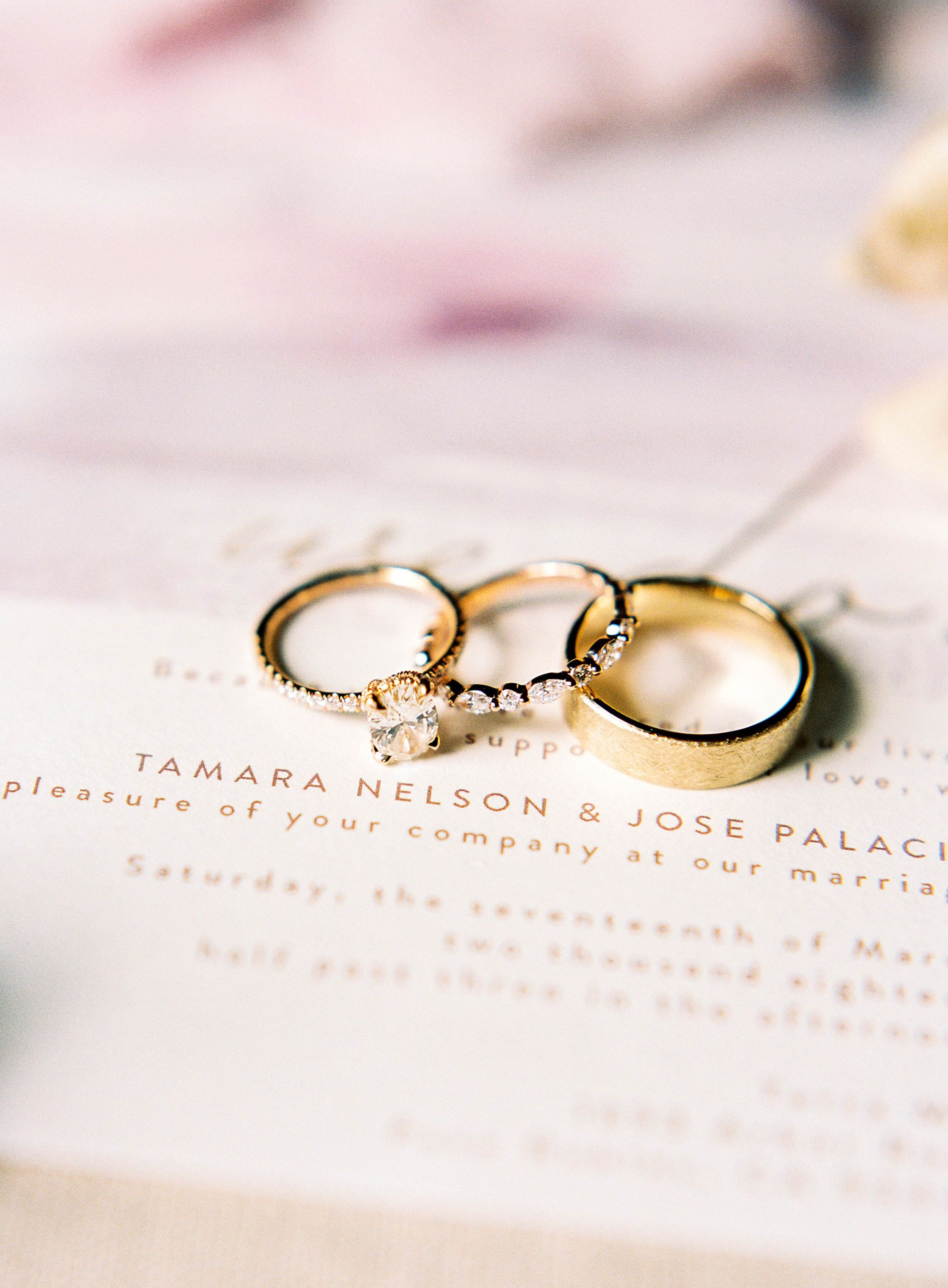 Wedding rings and wedding invitation at Terra Mia