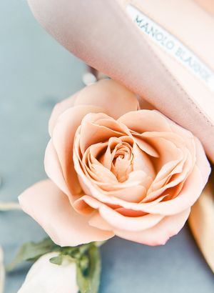 Pink rose and blush Manolo Blahnik shoes at Kestrel Park wedding