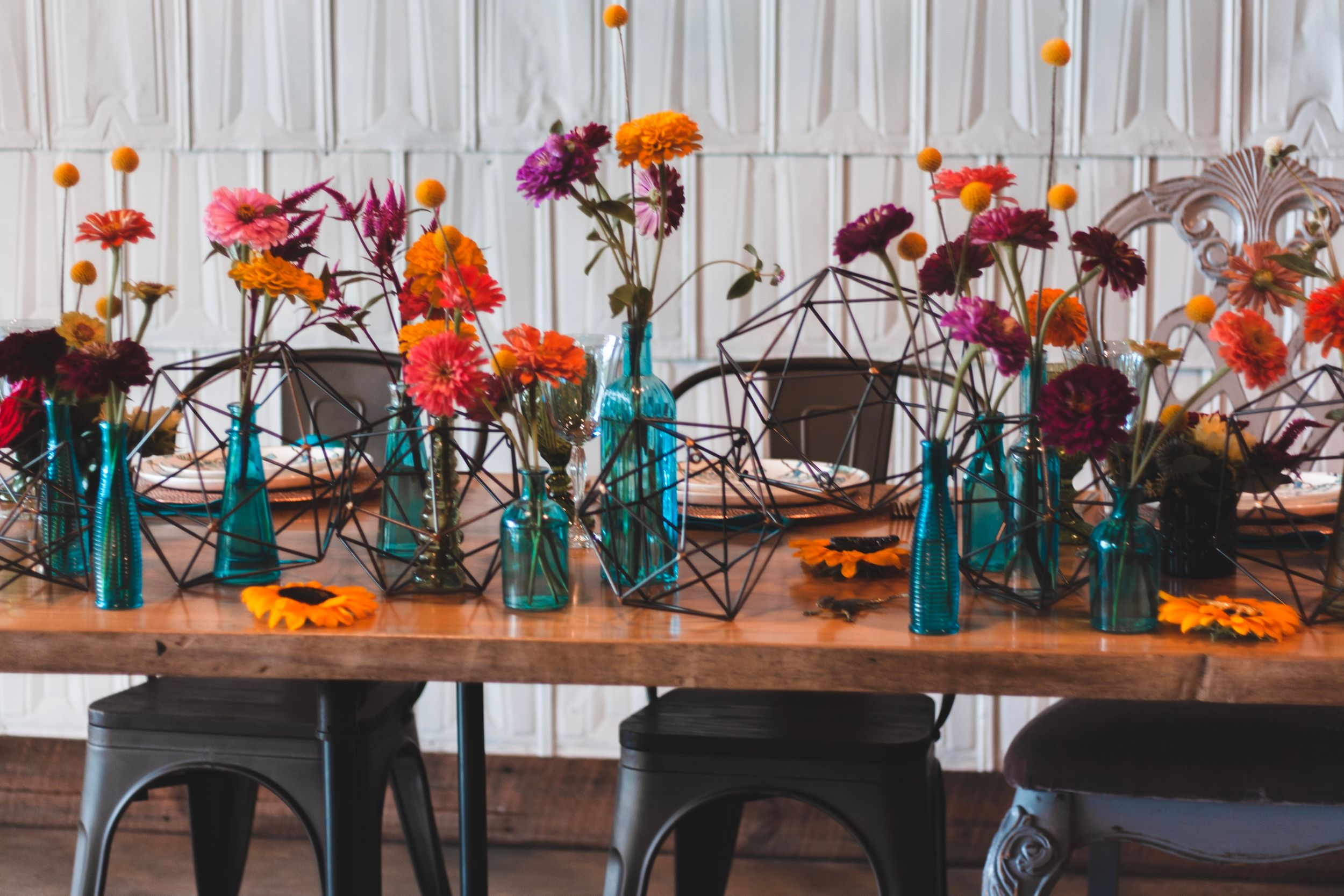 wedding table decorations at the meadows Raleigh