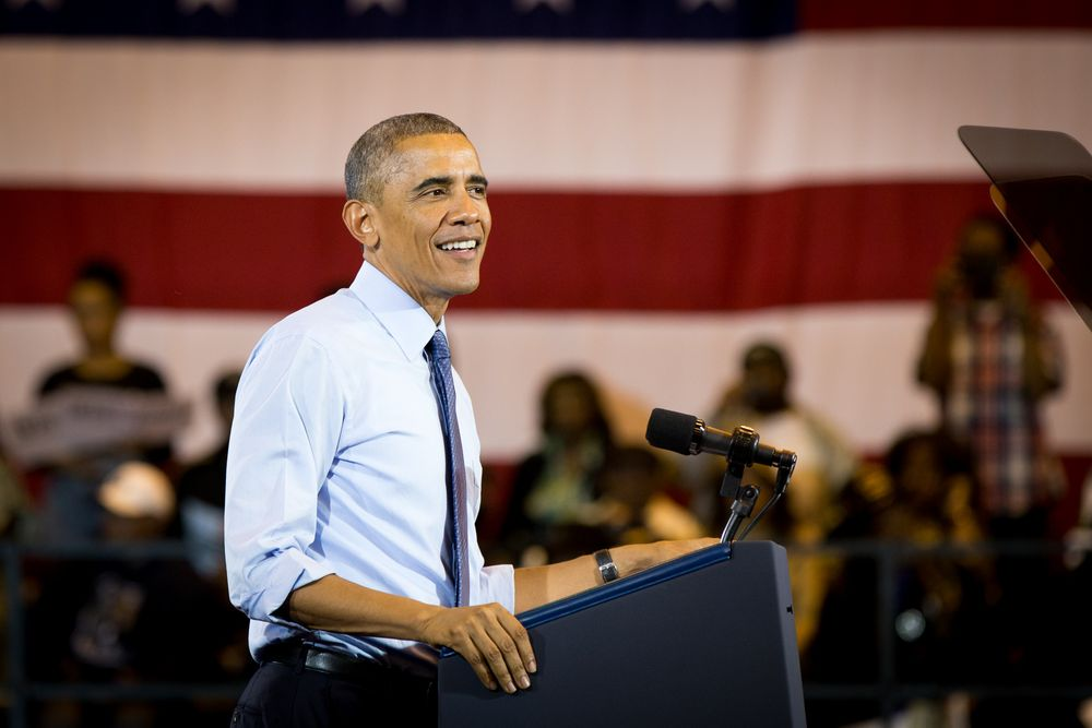 President Barack Obama in Milwaukee. Photo by Lori Compas.