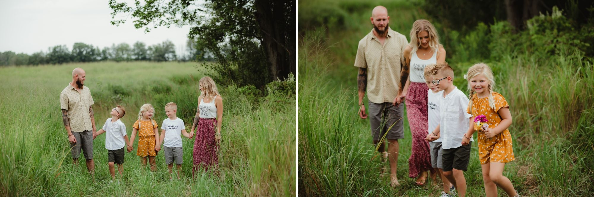 Photos of a family of five holding hands standing in tall grass and then walking.