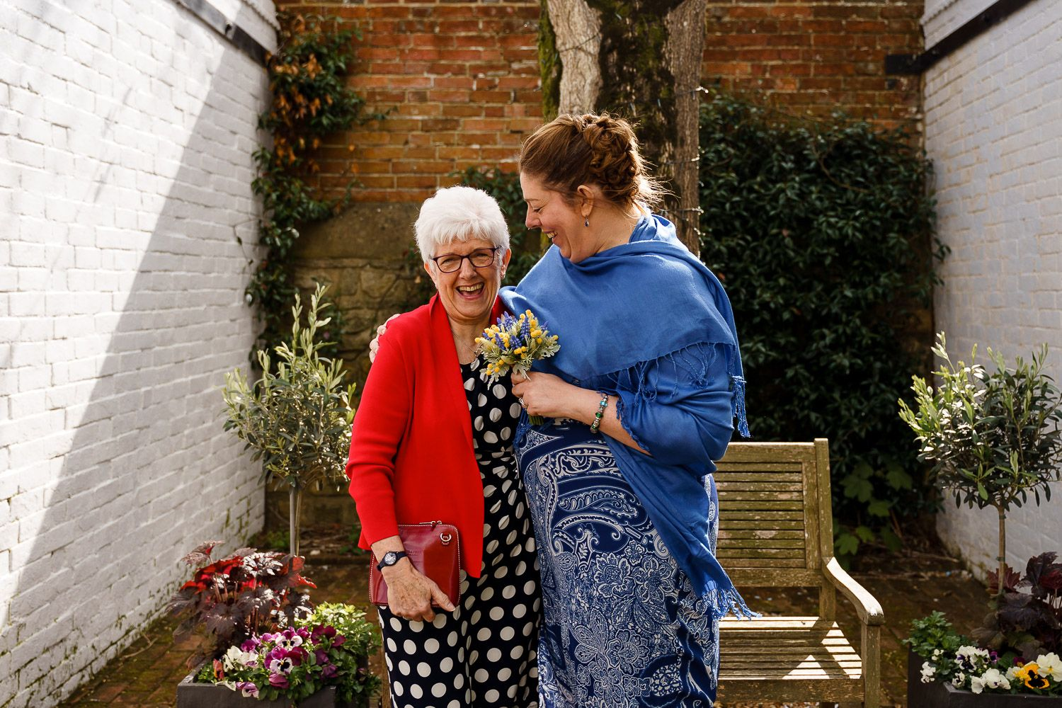 Portrait of bride and her mother at Southampton Registry Office wedding.
