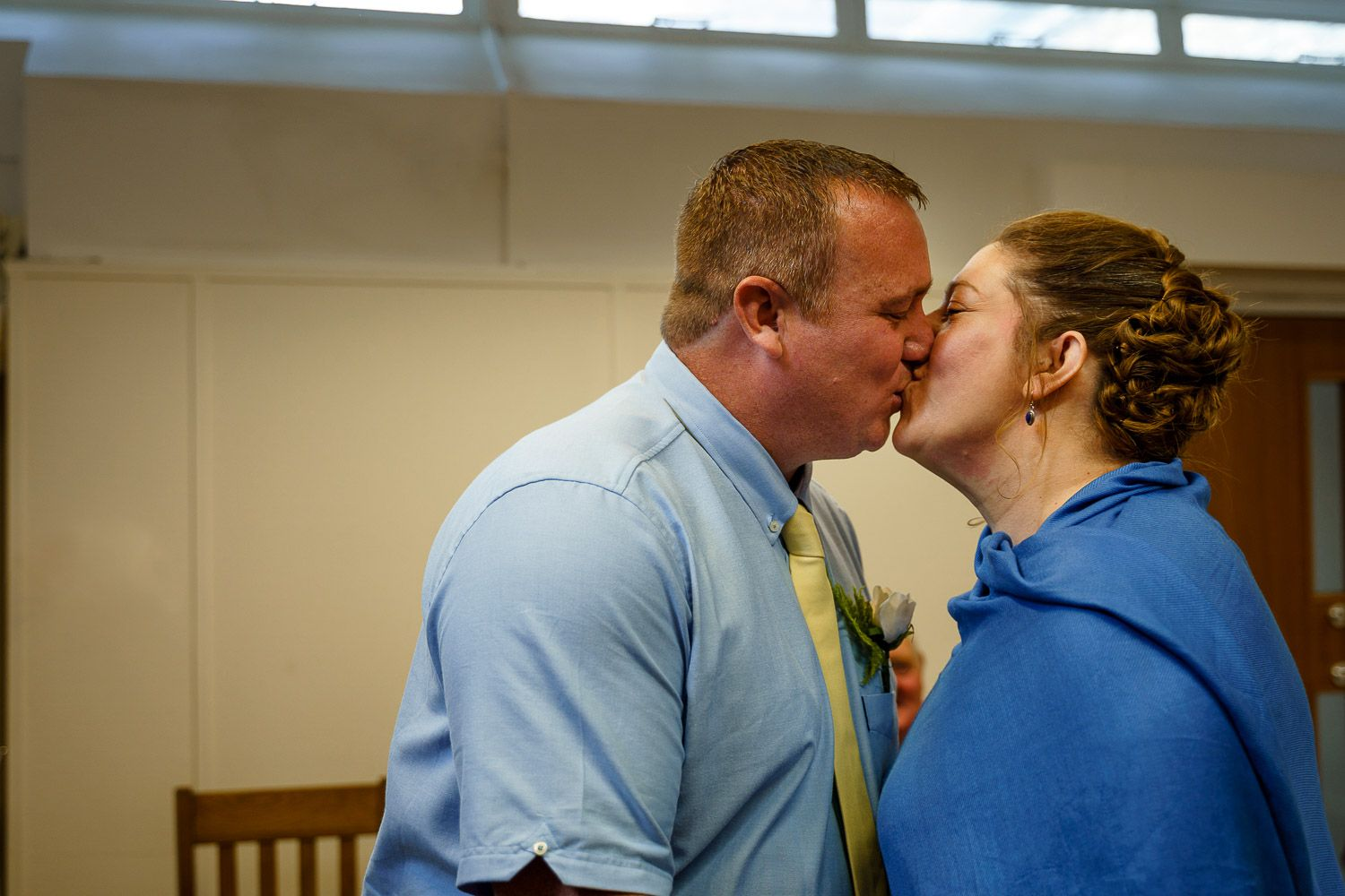 The first kiss at Southampton Registry Office wedding.