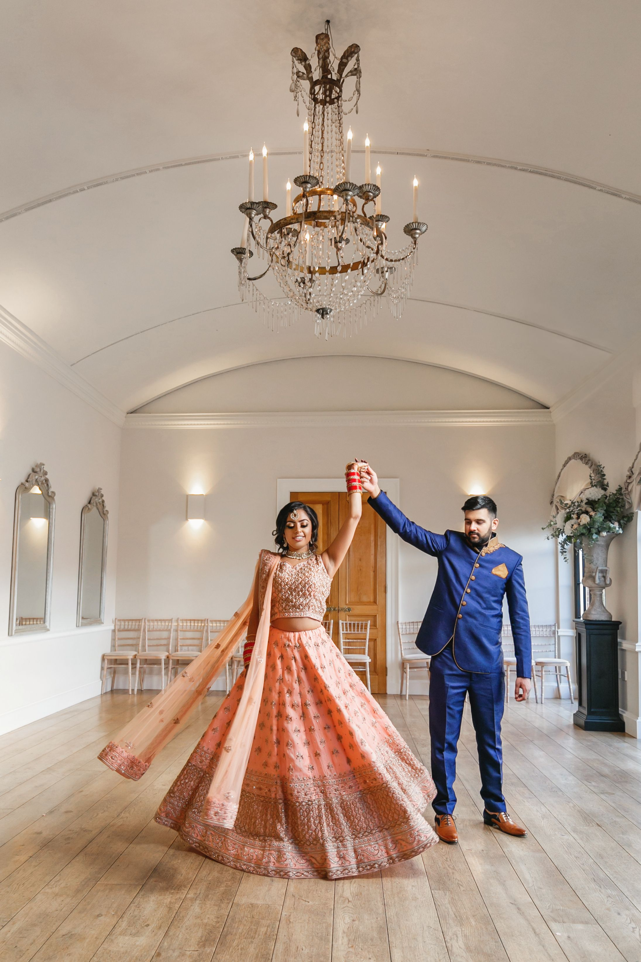 Asian bride and groom at Alrewas Hayes for an Indian Wedding. Sikh wedding photography. Birmingham and Derby