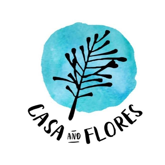 Black and blue logo casa and flores dried flower accessories