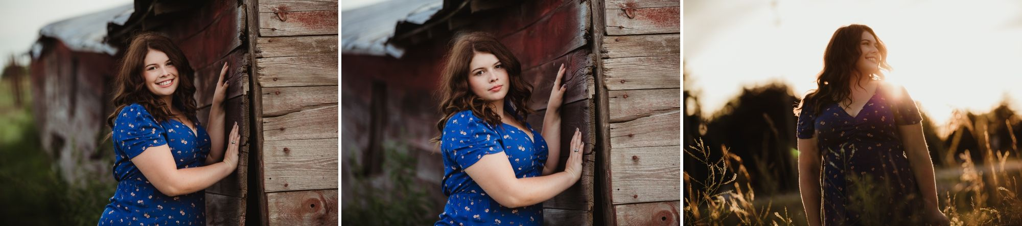 High school senior girl in a blue shirt leaning against an old barn and then standing in a field at sunset.