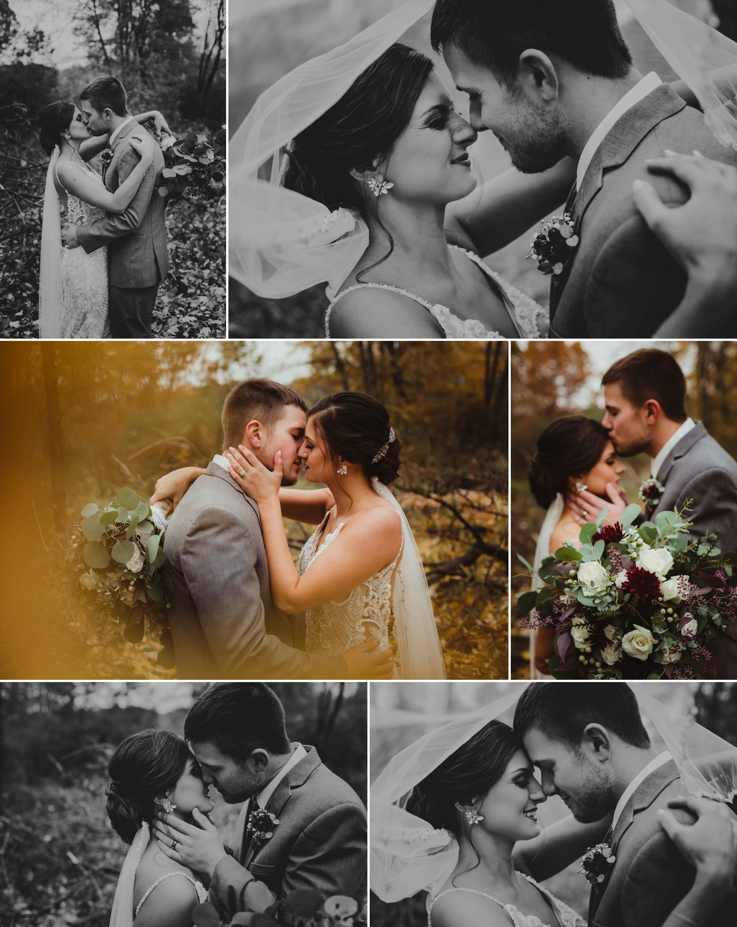 Close up intimate images of the bride and groom kissing, putting their foreheads together, and smiling close.