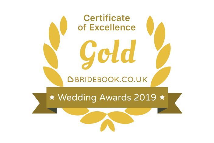 Bridebook awards 2019  gold certificate of excellence