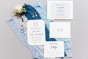 wedding details, wedding stationary, styling board, ring shot, ring, rose, invitation, wedding invitation, earrings