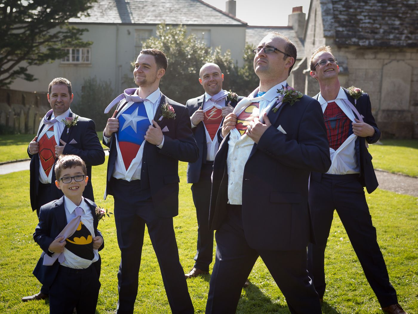 wedding group photo of superheroes t-shirts