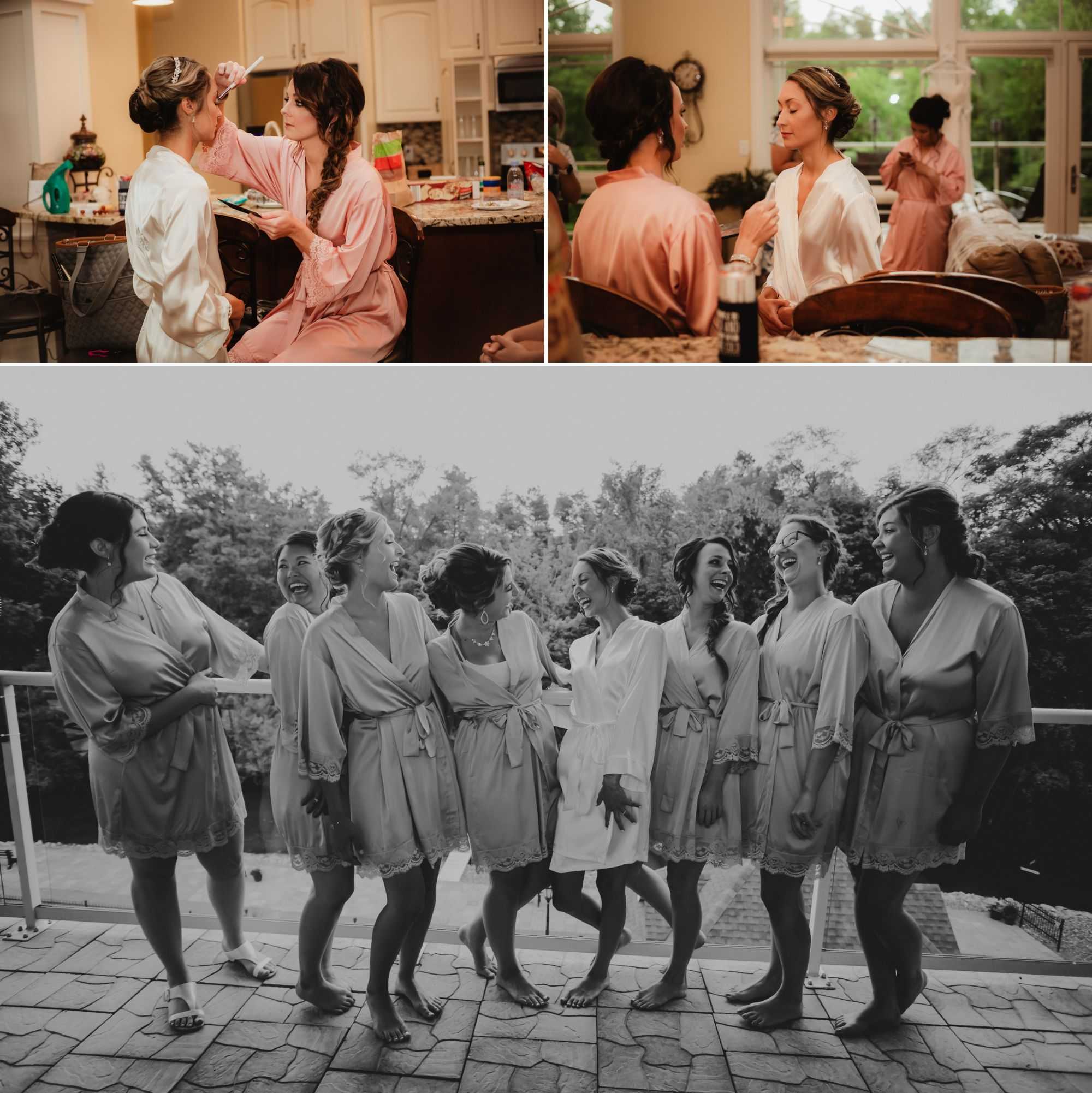 Photos of bride and bridesmaids in their robes getting ready and laughing.