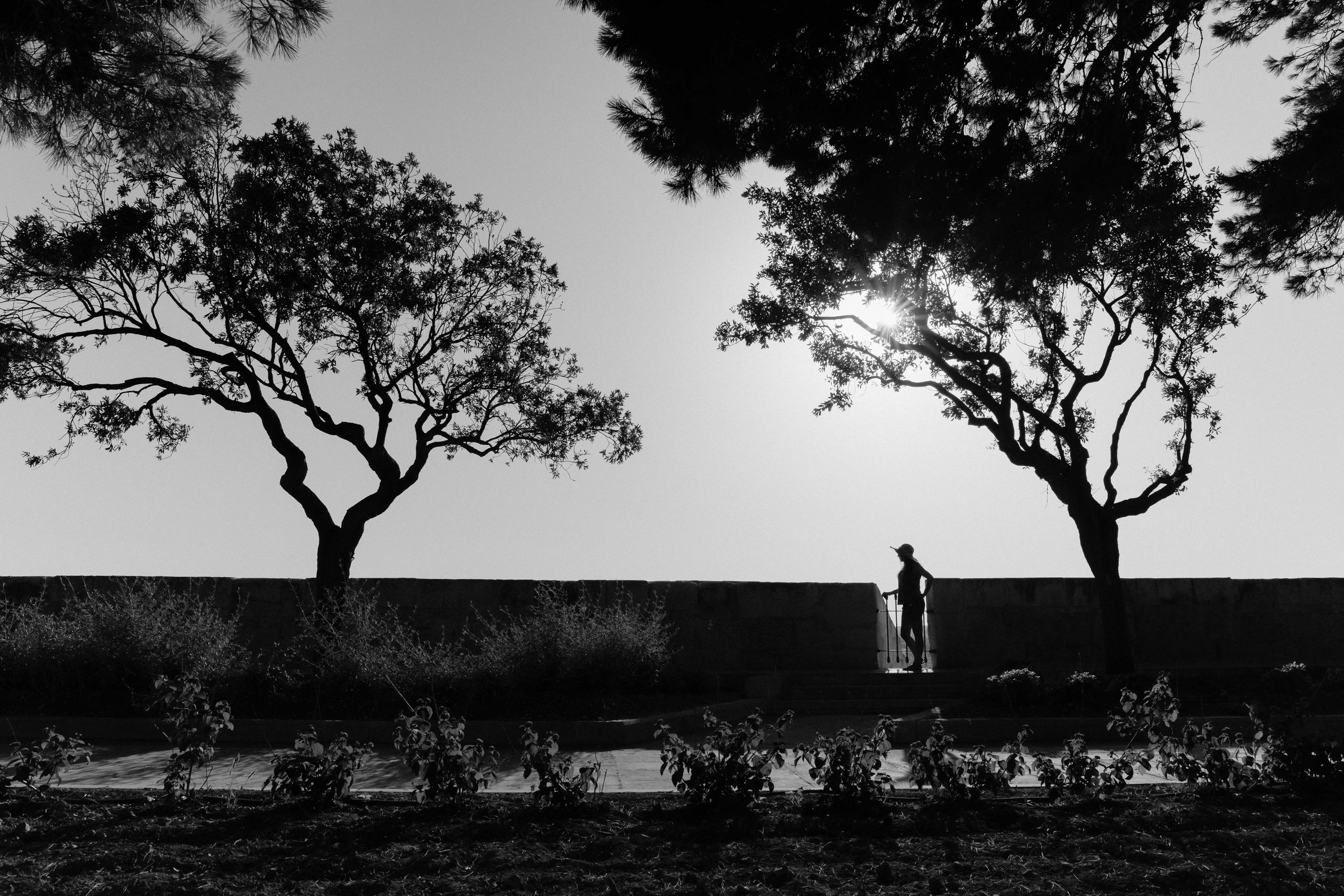 Silhouette of a woman in a hat standing admiring scenery in a gap in the wall of a garden in Valetta, Malta.