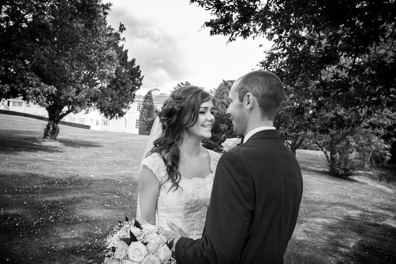 bride and groom at eastwood hall wedding photographer