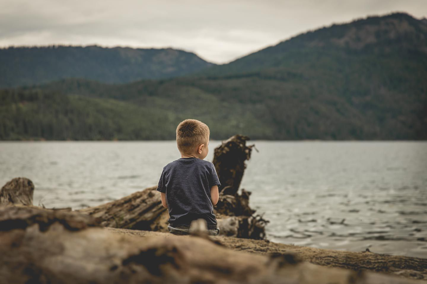 boy sitting on log by lake
